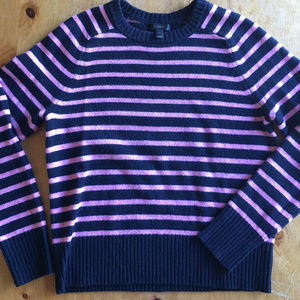 J.Crew pink and navy striped wool sweater